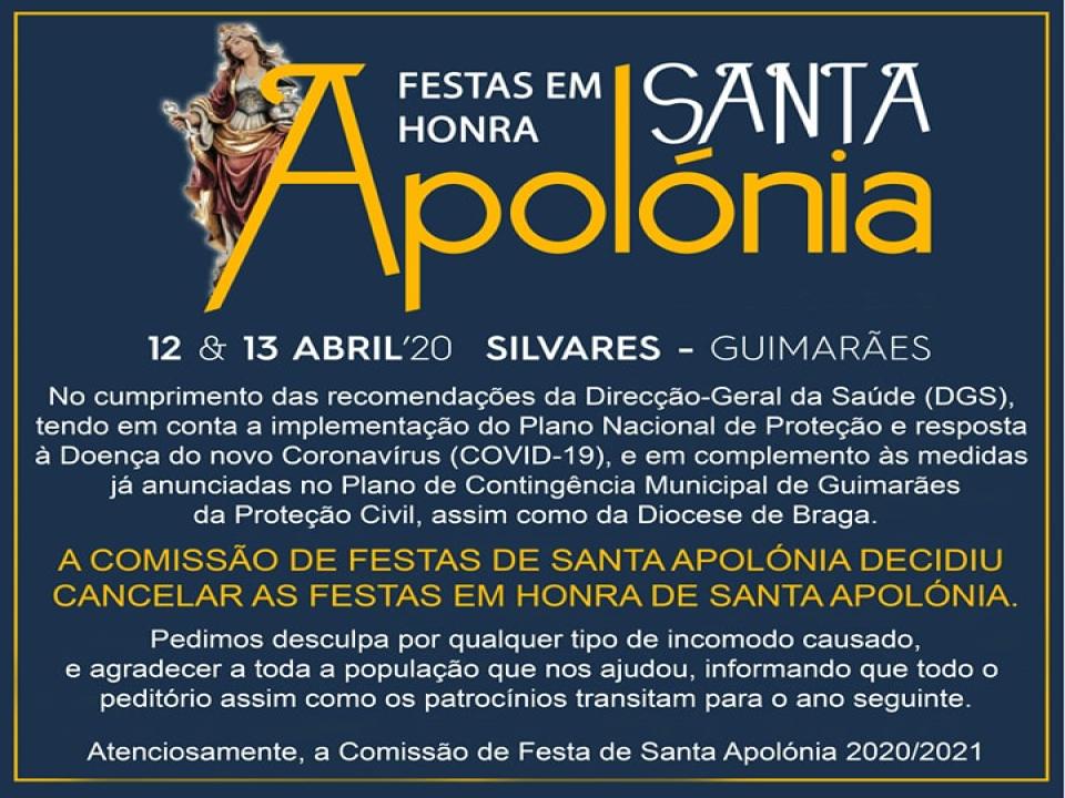 Prevenção COVID 19 | Cancelamento das Festividades em Honra de Santa Apolónia